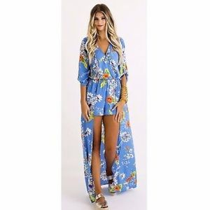 🔥Karlie Blue Floral Romper Duster- New